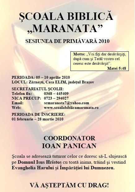 "Scoala Biblica ""Maranata"" la Zarnesti"